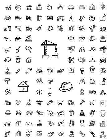 vector black construction icons set photo