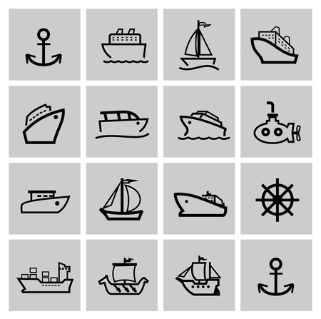 inflate boat: vector black boat and ship icons set