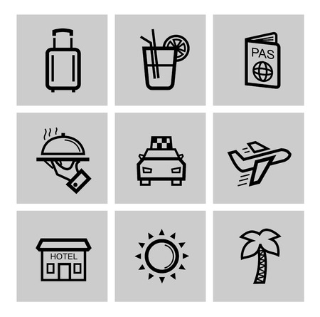 vector black vacation travel icon set photo