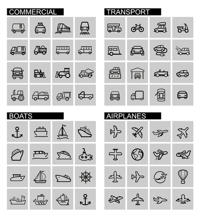 vector black transport icons set photo