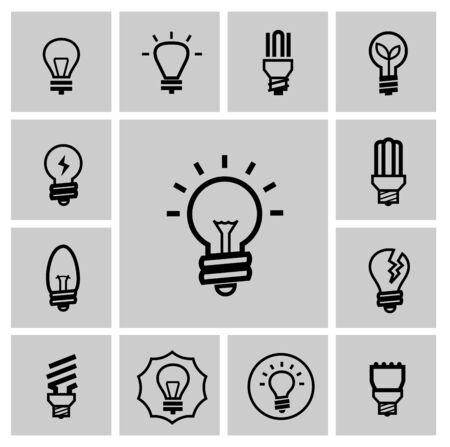 brain clipart: vector black bulbs icons set