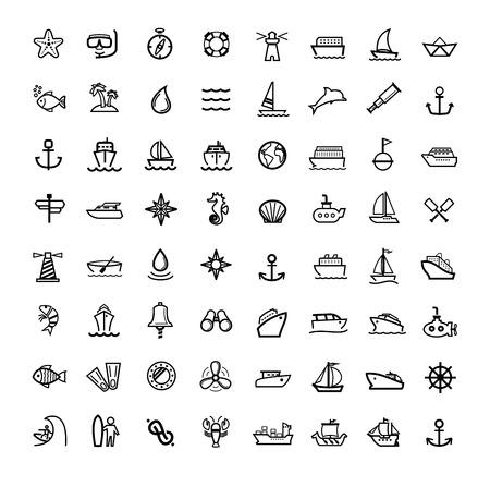 vector black boat and ship icons set photo