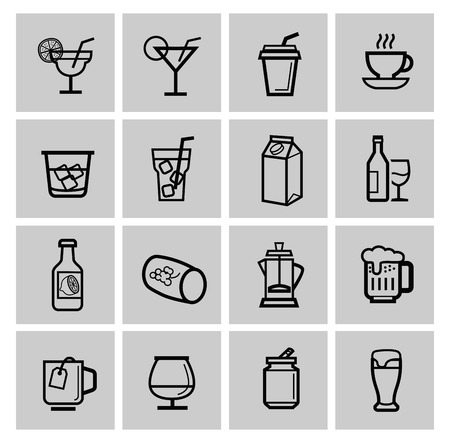 whisky glass: vector beverages icons set