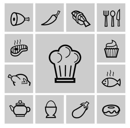 vector black kitchen icons set photo