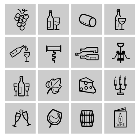 wine barrel: vector black wine icon set Stock Photo