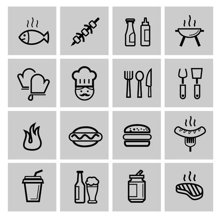 vector black kitchen icons set photo