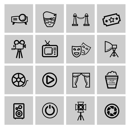 vector black movie icon set photo