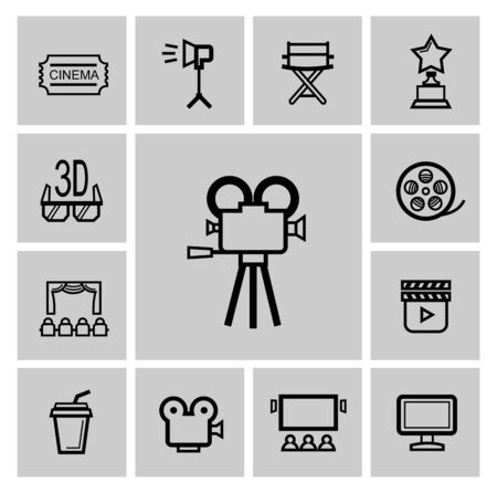 cine: vector black movie icon set