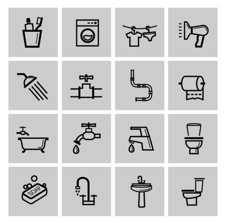 toilet seat: vector black bathroom icons set