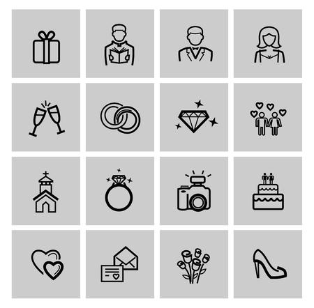 vector black wedding icons set Stock Photo