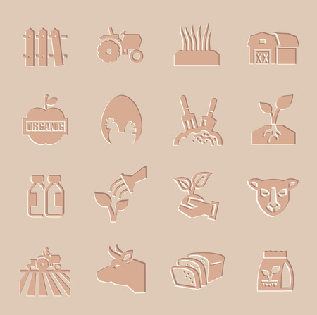 vector agriculture and farming icons set photo