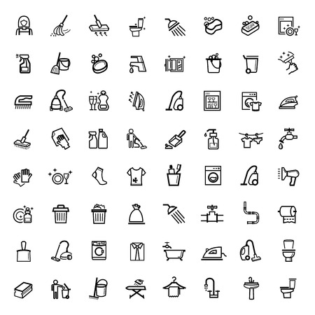 vector black cleaning icons set Stock Photo