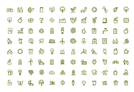 vector green eco icons set photo