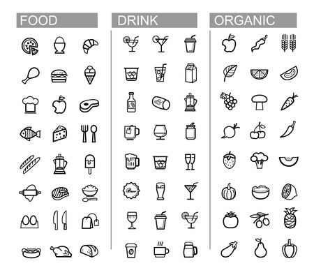 vector black beverage, food, kitchen icons set photo