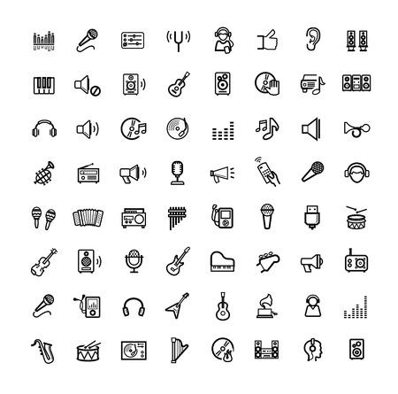 vector zwarte muziek pictogrammen instellen