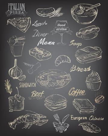 cocineros: vector dibujado a mano alimentos y comida en el fondo negro Vectores