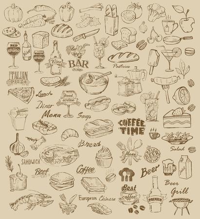 alimentacion sana: alimentos dibujados a mano y comida en color beige