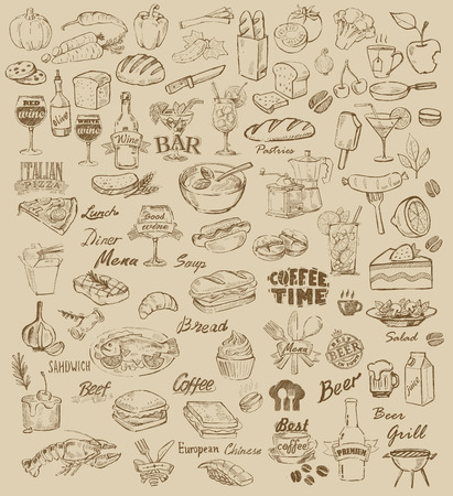 essen und trinken: Hand gezeichnet Essen und Essen auf beige