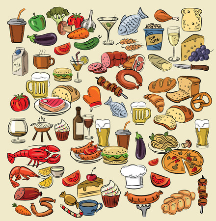 vector hand drawn color food on white Vector