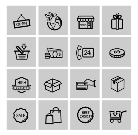 phone box: vector black shopping icons Illustration