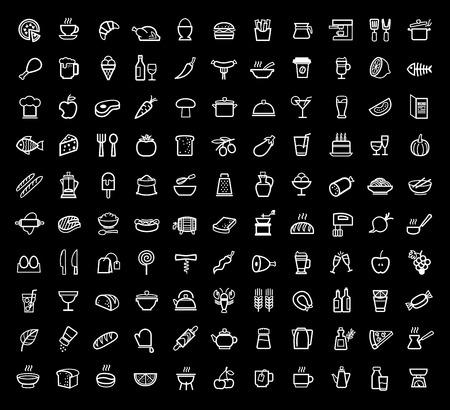 Vektor Lebensmittel Symbole festgelegt