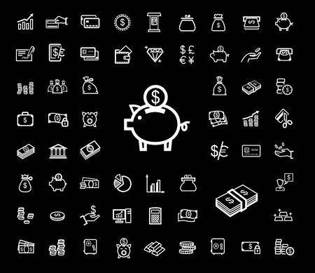 debt collection: vector black business icons