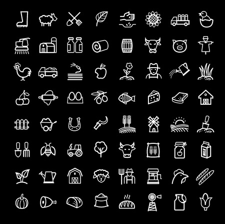 sprinkling: vector black agriculture and farming icons set Illustration