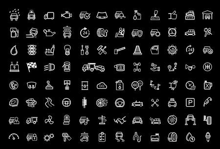 car repair shop: vector black auto icons set