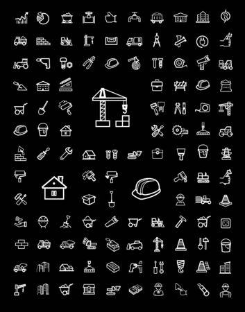 stone work: vector black construction icons set Illustration