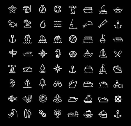 fishing industry: vector black boat and ship icons set
