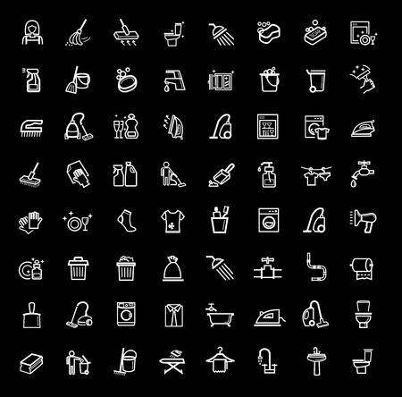 Icone vettoriali di pulizia nero set Vettoriali