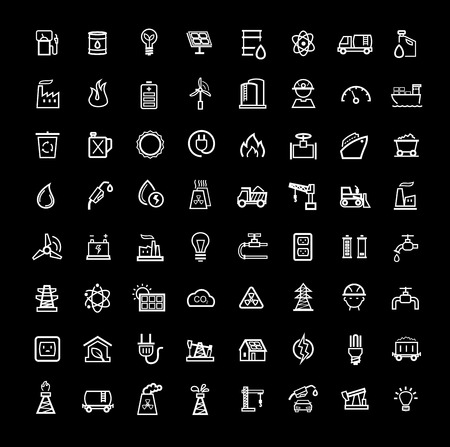vector black energy icons set