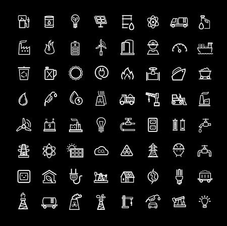 zestaw ikon wektora czarno energii Ilustracje wektorowe