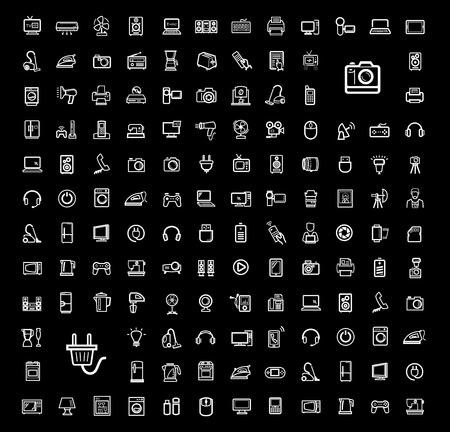 electrical appliances: vector black video and audio icons set