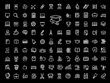 vector black education icons set Vector