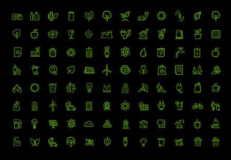 vector green eco icons set Vector