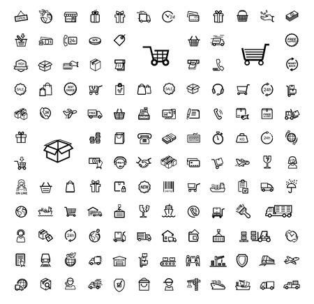 conjunto: vector negro del envío conjunto de iconos