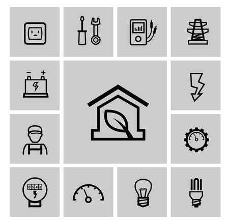 contador electrico: iconos vectoriales de electricidad negro conjunto