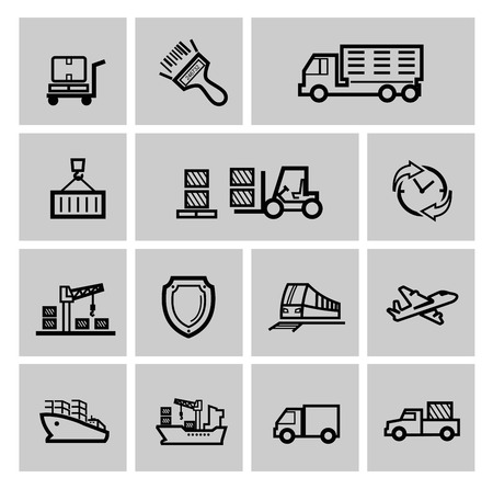 loading dock: vector black logistic and shipping icon set