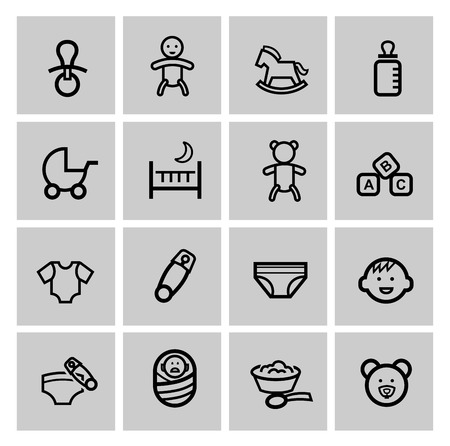 vector black baby icons set Vector