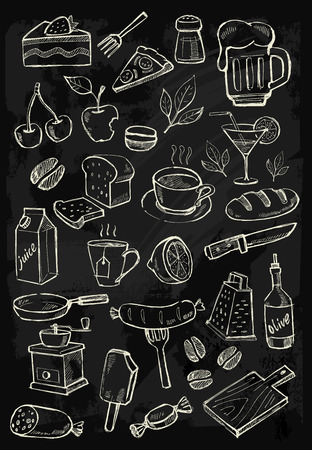 chalk board: menu icons Illustration