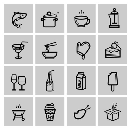 vector food icons set Vector