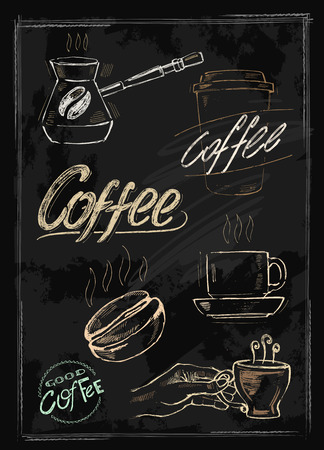 vector chalk coffee set on chalkboard background Vector