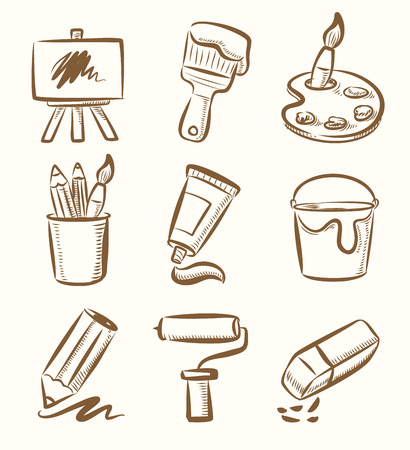 digitizer: vector hand draw art icon set on beige