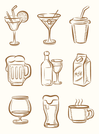 vector hand drawn beverages icons set on beige 向量圖像