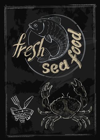 sea food: vector hand drawn fresh sea food on black