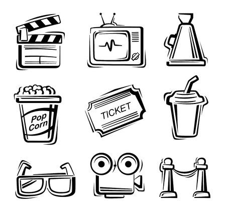 vector black Movie icon set on white Vector