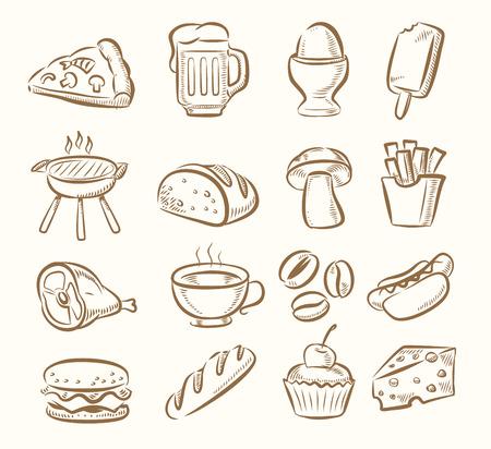 vector hand draw kitchen icon set on beige Vektorové ilustrace