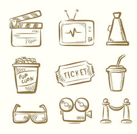vector hand draw Movie icon set on beige Vector