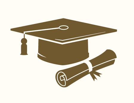 mortero: vector graduación de la tapa y el icono de diploma en color beige Vectores